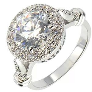 Round Cubic Zirconia Sterling Silver Halo Jewelry